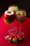 Colorful fruit mousse in glass Royalty Free Stock Photos