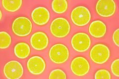 Colorful fruit pattern of fresh orange slices on coral background royalty free stock photo