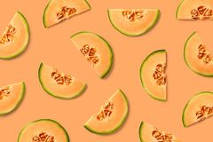 Colorful fruit pattern of melon slices stock photos