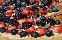 Colorful fruit pizza. Royalty Free Stock Image