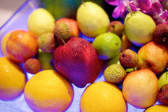 Colorful fruit in restaurant buffet Stock Photos