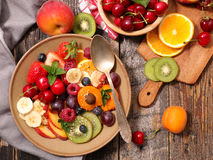 Colorful fruit salad. With ingredients Royalty Free Stock Photography