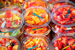 Colorful fruit salad in transparent glasses Royalty Free Stock Images
