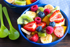 Colorful fruit salad for two Royalty Free Stock Photos