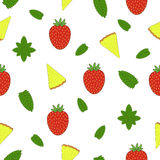 Colorful Fruit seamless pattern. Hand drawn illustration. Stock Photo