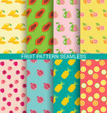 Colorful fruit seamless pattern set Royalty Free Stock Photography