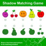 Colorful Fruit Shadow matching Game for kids. Colorful Fruit educational Shadow matching Game for kids with five different happy smiling fruit with corresponding Stock Photo