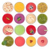 Fruit smoothies variety, top view Royalty Free Stock Images