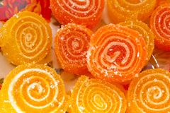 Colorful fruit sugary candies Royalty Free Stock Photos