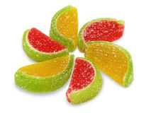 Colorful fruit sugary candies close-up Royalty Free Stock Photography