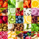 Colorful fruit and vegetable collage background Royalty Free Stock Photo