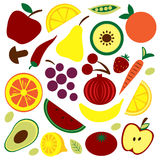 Colorful fruit and vegetable pattern Stock Image