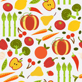 Colorful fruit and vegetables seamless background Stock Images