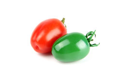 Colorful fruits. Cherry tomatoes painted in different color isolated on white background Stock Images