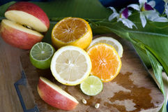 Colorful fruits and citrus royalty free stock photo