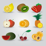Colorful fruits and half fruits icons Royalty Free Stock Photo
