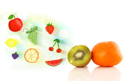 Colorful fruits with hand drawn illustrated fruits Royalty Free Stock Images