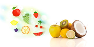 Colorful fruits with hand drawn illustrated fruits Royalty Free Stock Photo