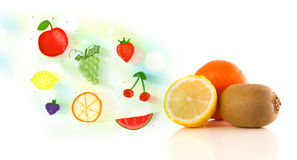 Colorful fruits with hand drawn illustrated fruits Stock Photo
