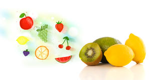 Colorful fruits with hand drawn illustrated fruits Stock Photos