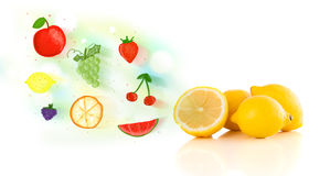 Colorful fruits with hand drawn illustrated fruits Royalty Free Stock Photos