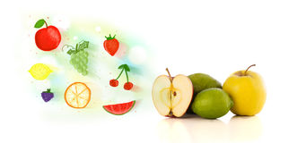 Colorful fruits with hand drawn illustrated fruits Royalty Free Stock Image