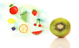 Colorful fruits with hand drawn illustrated fruits Royalty Free Stock Photography