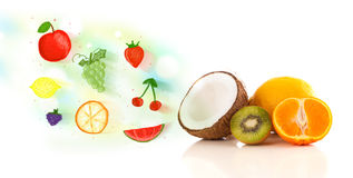 Colorful fruits with hand drawn illustrated fruits Stock Photography