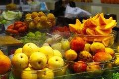 Colorful fruits at the market royalty free stock photo