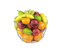 Colorful fruits in a metal basket isolated on white background Royalty Free Stock Photography