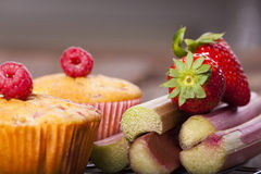 Colorful fruits and Muffins Royalty Free Stock Images
