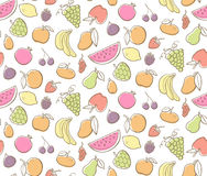 Colorful fruits seamless pattern. Vector illustration Stock Photo