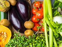 Colorful fruits and vegetables background, Assortment of fresh vitamin rich food royalty free stock images