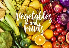 Colorful fruits and vegetables background. Rainbow collection stock photography