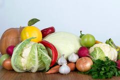 Colorful fruits and vegetables background. Vitamin vegetarian set. Stock Photos