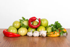 Colorful fruits and vegetables background. Vitamin vegetarian set. Royalty Free Stock Photo