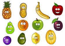 Colorful fruits and vegetables cartoon characters Stock Photos