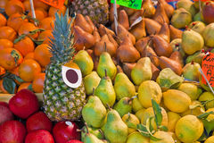 Colorful fruits and vegetables from organic agriculture exhibite Royalty Free Stock Photo
