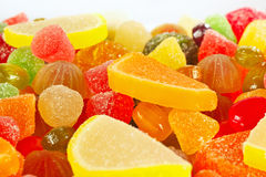 Colorful fruity candies and jujube closeup Stock Images