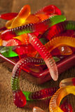 Colorful Fruity Gummy Worm Candy. On a background Royalty Free Stock Photo