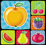 Colorful fruity icons set 2 vector illustration