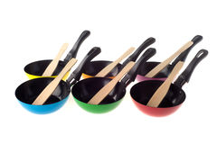 Colorful frying pans Royalty Free Stock Image