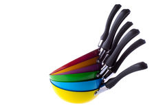 Colorful frying pans royalty free stock photo