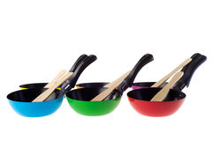 Colorful frying pans Stock Image