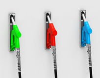 The colorful fuel nozzles Royalty Free Stock Image