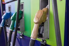 Colorful fuel oil gasoline. Dispenser at petrol filling station Stock Photography