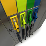 Colorful fuel pumps Royalty Free Stock Images