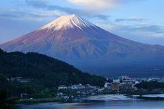 Fuji Mountain at lake Kawaguchi, Japan. Colorful Fuji Mountain with snow cap at lake Kawaguchi, Japan. During sunrise royalty free stock images