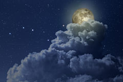 Colorful full moon night Stock Image
