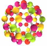 Colorful fullerene molecular structure Stock Photos
